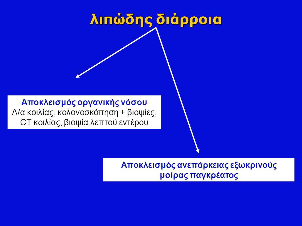 λιπώδης διάρροια Αποκλεισμός οργανικής νόσου Α/α κοιλίας, κολονοσκόπηση + βιοψίες, CT κοιλίας, βιοψία λεπτού εντέρου Αποκλεισμός ανεπάρκειας εξωκρινού