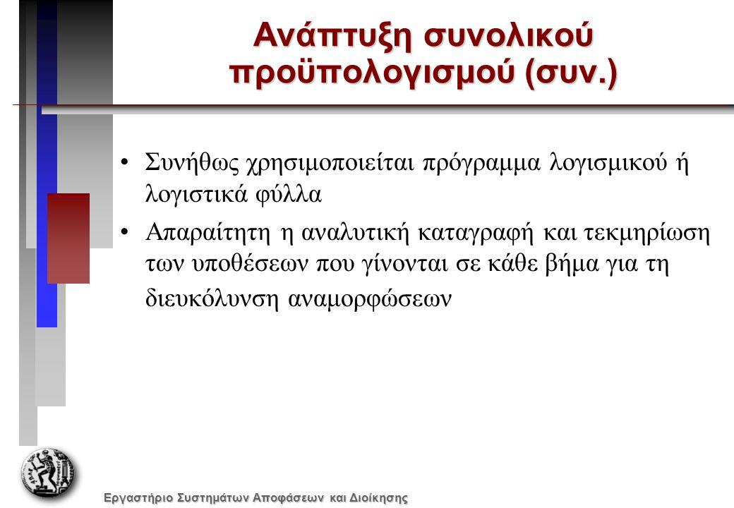 Εργαστήριο Συστημάτων Αποφάσεων και Διοίκησης Ανάπτυξη συνολικού προϋπολογισμού (συν.) Συνήθως χρησιμοποιείται πρόγραμμα λογισμικού ή λογιστικά φύλλα