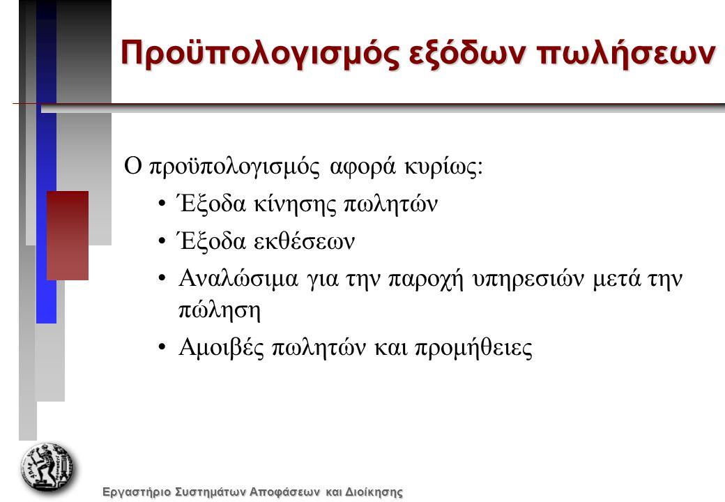 Εργαστήριο Συστημάτων Αποφάσεων και Διοίκησης Προϋπολογισμός εξόδων πωλήσεων Ο προϋπολογισμός αφορά κυρίως: Έξοδα κίνησης πωλητών Έξοδα εκθέσεων Αναλώ