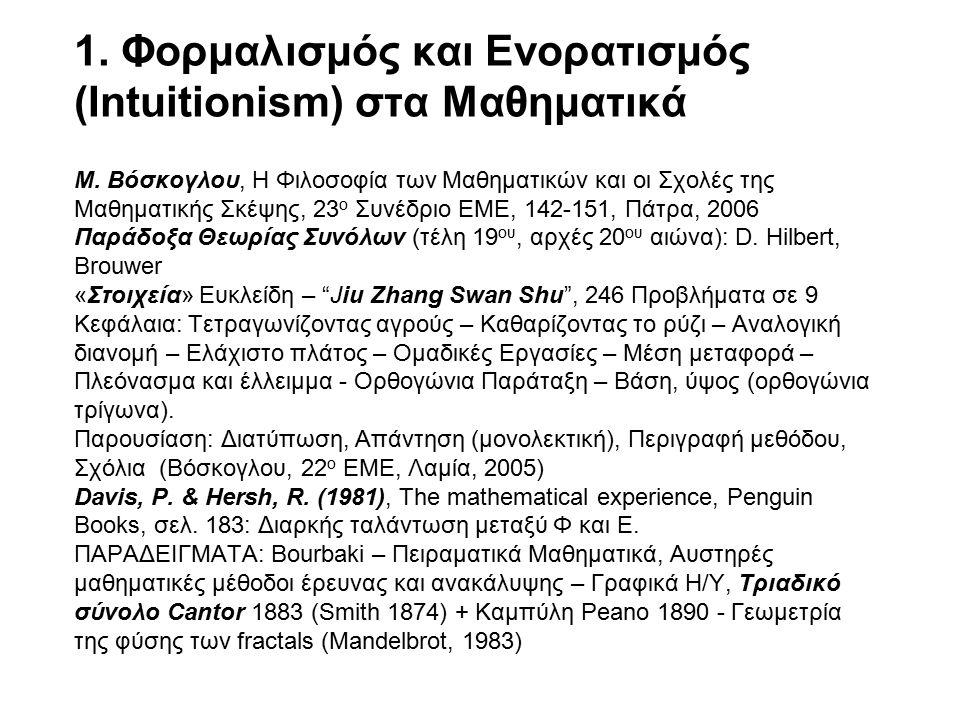 1. Φορμαλισμός και Ενορατισμός (Intuitionism) στα Μαθηματικά Μ.