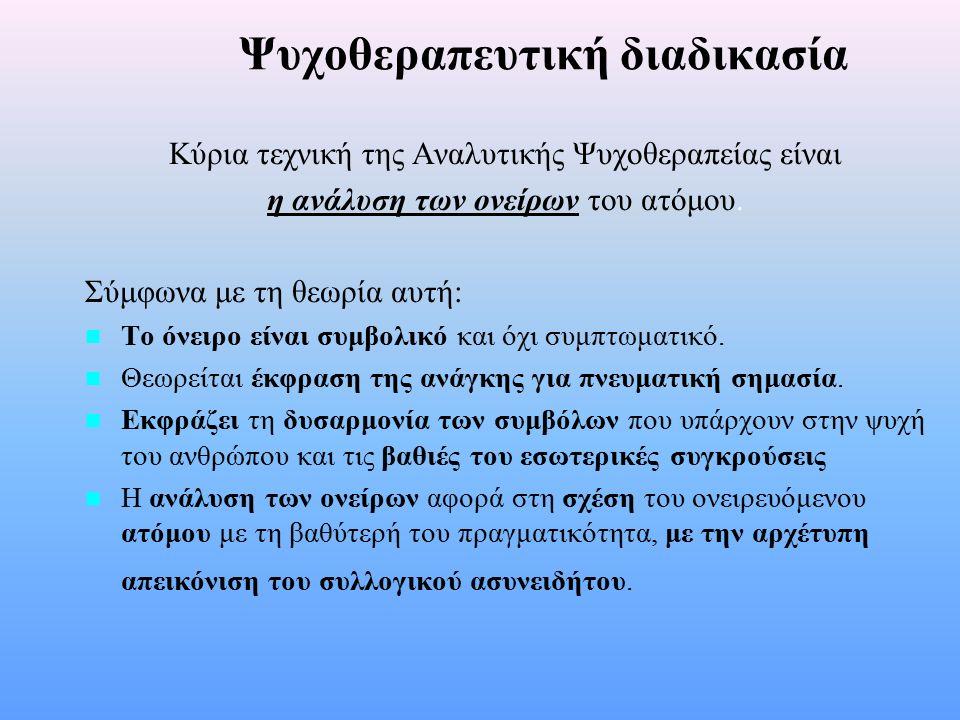 Η αναλυτική ψυχοθεραπεία Η ψυχοθεραπεία αποτελεί μια προσπάθεια δημιουργίας μιας διαλεκτικής σχέσης μεταξύ του συνειδητού και του ασυνειδήτου του ατόμου Στο θεραπευτή τίθεται το ερώτημα: Τι συμβολίζει η συμπεριφορά του ατόμου;