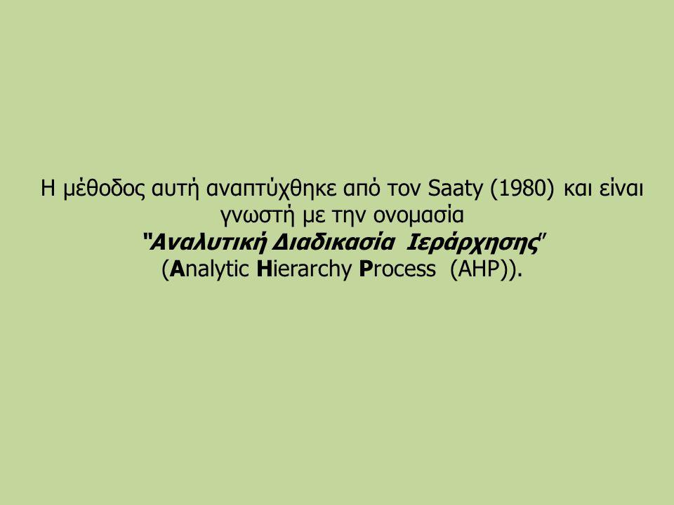 Η μέθοδος αυτή αναπτύχθηκε από τον Saaty (1980) και είναι γνωστή με την ονομασία Αναλυτική Διαδικασία Ιεράρχησης (Analytic Hierarchy Process (AHP)).