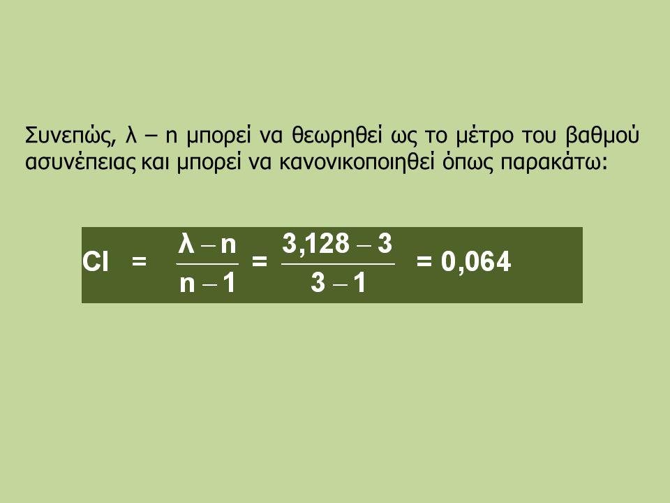 Συνεπώς, λ – n μπορεί να θεωρηθεί ως το μέτρο του βαθμού ασυνέπειας και μπορεί να κανονικοποιηθεί όπως παρακάτω:
