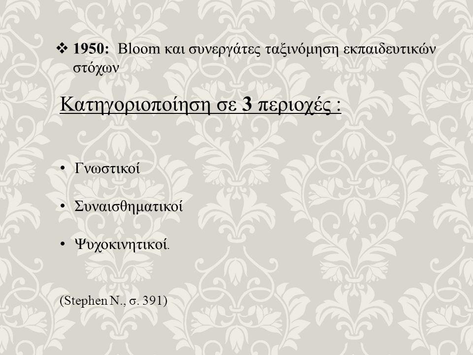  1950: Bloom και συνεργάτες ταξινόμηση εκπαιδευτικών στόχων Κατηγοριοποίηση σε 3 περιοχές : Γνωστικοί Συναισθηματικοί Ψυχοκινητικoί.