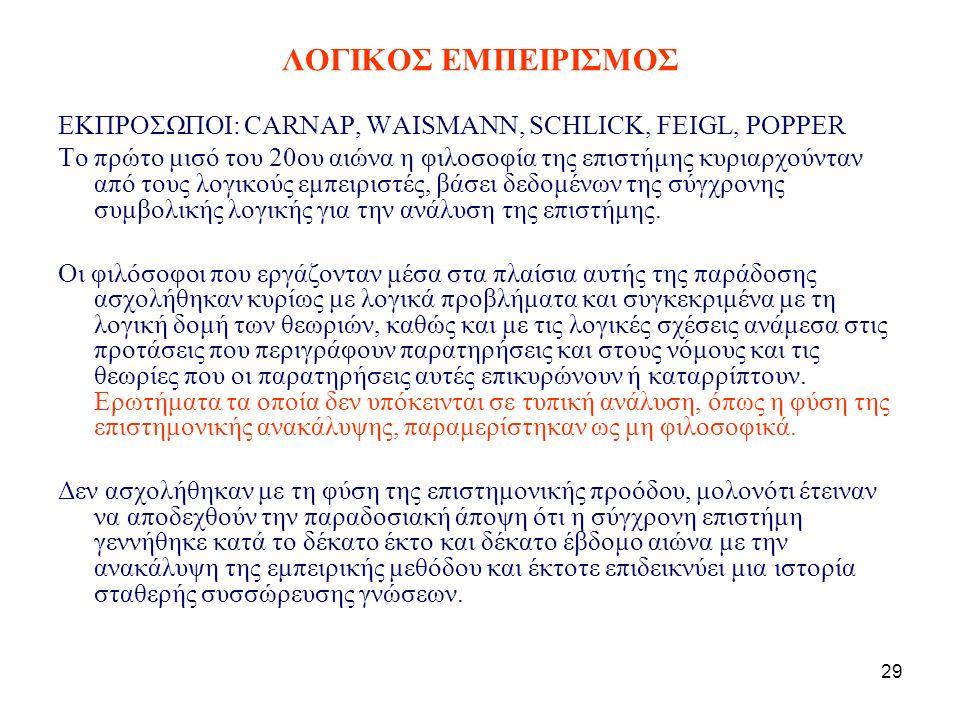 29 ΛΟΓΙΚΟΣ ΕΜΠΕΙΡΙΣΜΟΣ ΕΚΠΡΟΣΩΠΟΙ: CARNAP, WAISMANN, SCHLICK, FEIGL, POPPER Το πρώτο μισό του 20ου αιώνα η φιλοσοφία της επιστήμης κυριαρχούνταν από τους λογικούς εμπειριστές, βάσει δεδομένων της σύγχρονης συμβολικής λογικής για την ανάλυση της επιστήμης.