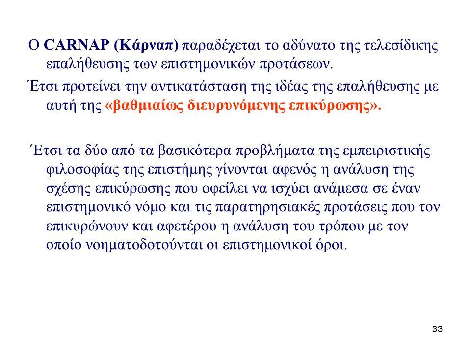 33 Ο CARNAP (Kάρναπ) παραδέχεται το αδύνατο της τελεσίδικης επαλήθευσης των επιστημονικών προτάσεων.
