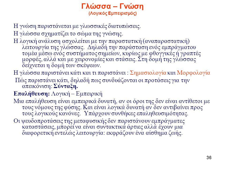 36 Γλώσσα – Γνώση (Λογικός Εμπειρισμός) Η γνώση παριστάνεται με γλωσσικές διατυπώσεις.