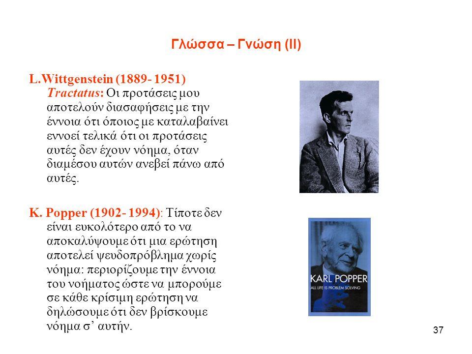 37 Γλώσσα – Γνώση (ΙΙ) L.Wittgenstein (1889- 1951) Tractatus: Οι προτάσεις μου αποτελούν διασαφήσεις με την έννοια ότι όποιος με καταλαβαίνει εννοεί τελικά ότι οι προτάσεις αυτές δεν έχουν νόημα, όταν διαμέσου αυτών ανεβεί πάνω από αυτές.