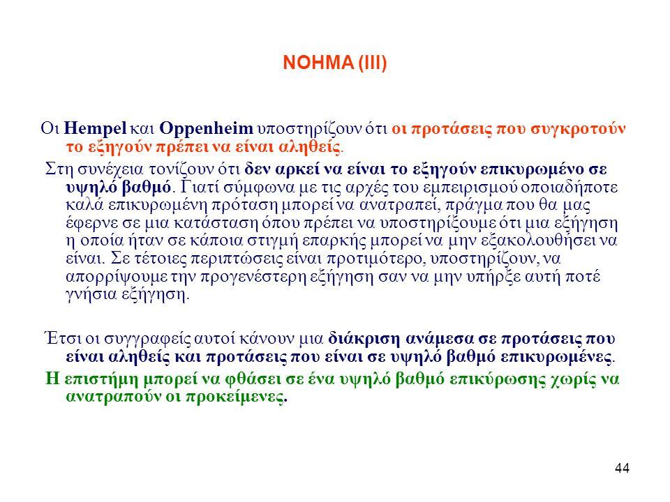 44 NOHMA (ΙΙΙ) Οι Hempel και Oppenheim υποστηρίζουν ότι οι προτάσεις που συγκροτούν το εξηγούν πρέπει να είναι αληθείς. Στη συνέχεια τονίζουν ότι δεν