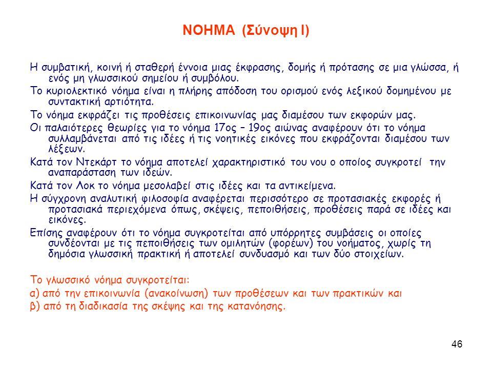 46 ΝΟΗΜΑ (Σύνοψη I) Η συμβατική, κοινή ή σταθερή έννοια μιας έκφρασης, δομής ή πρότασης σε μια γλώσσα, ή ενός μη γλωσσικού σημείου ή συμβόλου.