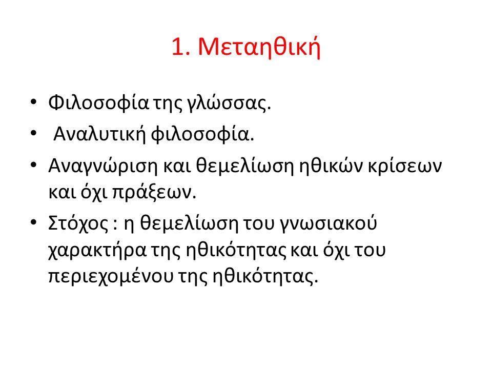 1. Μεταηθική Φιλοσοφία της γλώσσας. Αναλυτική φιλοσοφία.