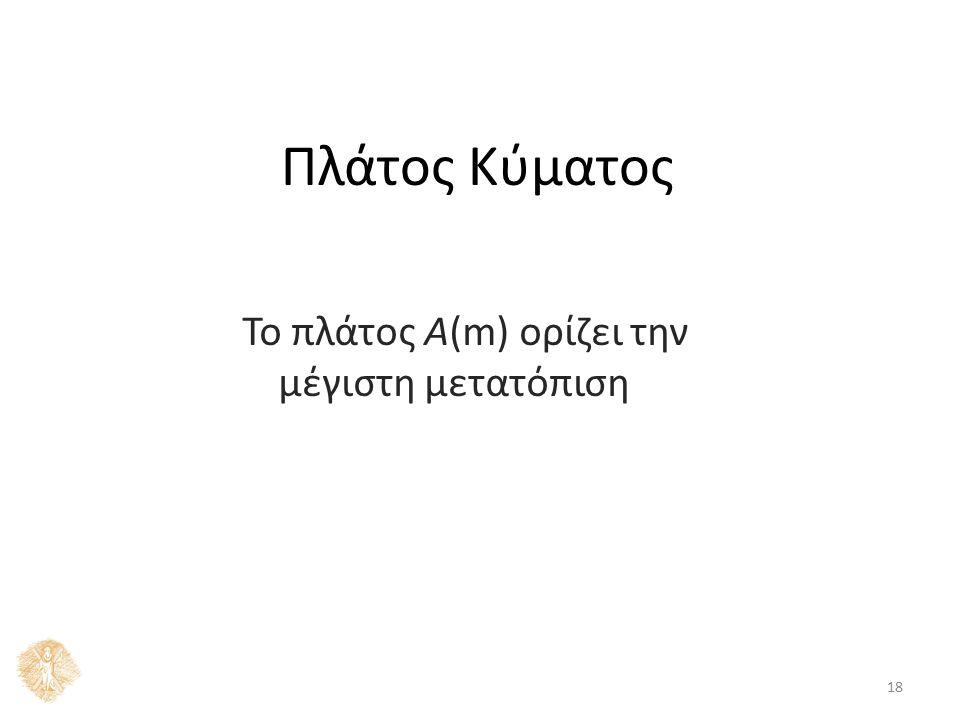 Πλάτος Κύματος 18 Το πλάτος Α(m) ορίζει την μέγιστη μετατόπιση