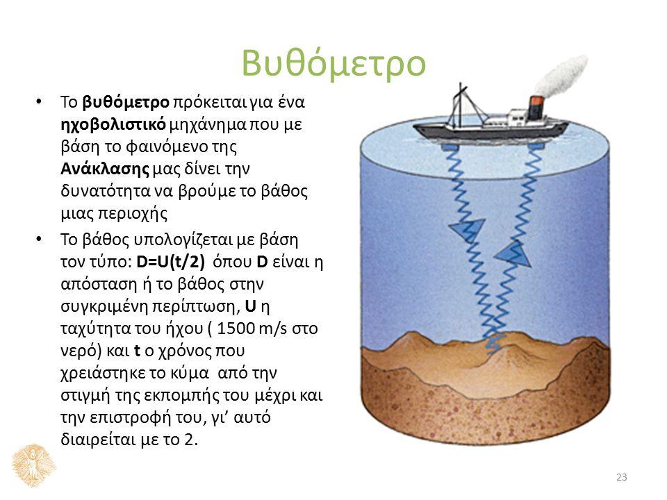 Βυθόμετρο Το βυθόμετρο πρόκειται για ένα ηχοβολιστικό μηχάνημα που με βάση το φαινόμενο της Ανάκλασης μας δίνει την δυνατότητα να βρούμε το βάθος μιας περιοχής Το βάθος υπολογίζεται με βάση τον τύπο: D=U(t/2) όπου D είναι η απόσταση ή το βάθος στην συγκριμένη περίπτωση, U η ταχύτητα του ήχου ( 1500 m/s στο νερό) και t ο χρόνος που χρειάστηκε το κύμα από την στιγμή της εκπομπής του μέχρι και την επιστροφή του, γι' αυτό διαιρείται με το 2.