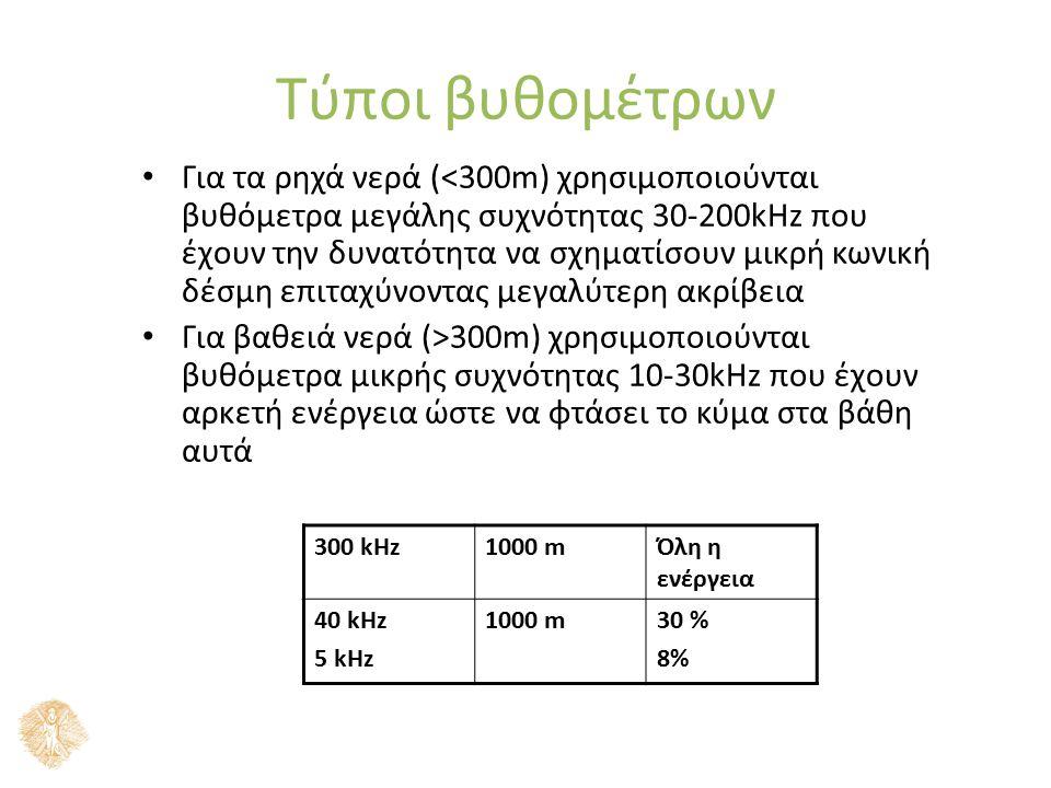 Τύποι βυθομέτρων Για τα ρηχά νερά (<300m) χρησιμοποιούνται βυθόμετρα μεγάλης συχνότητας 30-200kHz που έχουν την δυνατότητα να σχηματίσουν μικρή κωνική δέσμη επιταχύνοντας μεγαλύτερη ακρίβεια Για βαθειά νερά (>300m) χρησιμοποιούνται βυθόμετρα μικρής συχνότητας 10-30kHz που έχουν αρκετή ενέργεια ώστε να φτάσει το κύμα στα βάθη αυτά 300 kHz1000 mΌλη η ενέργεια 40 kHz 5 kHz 1000 m30 % 8%
