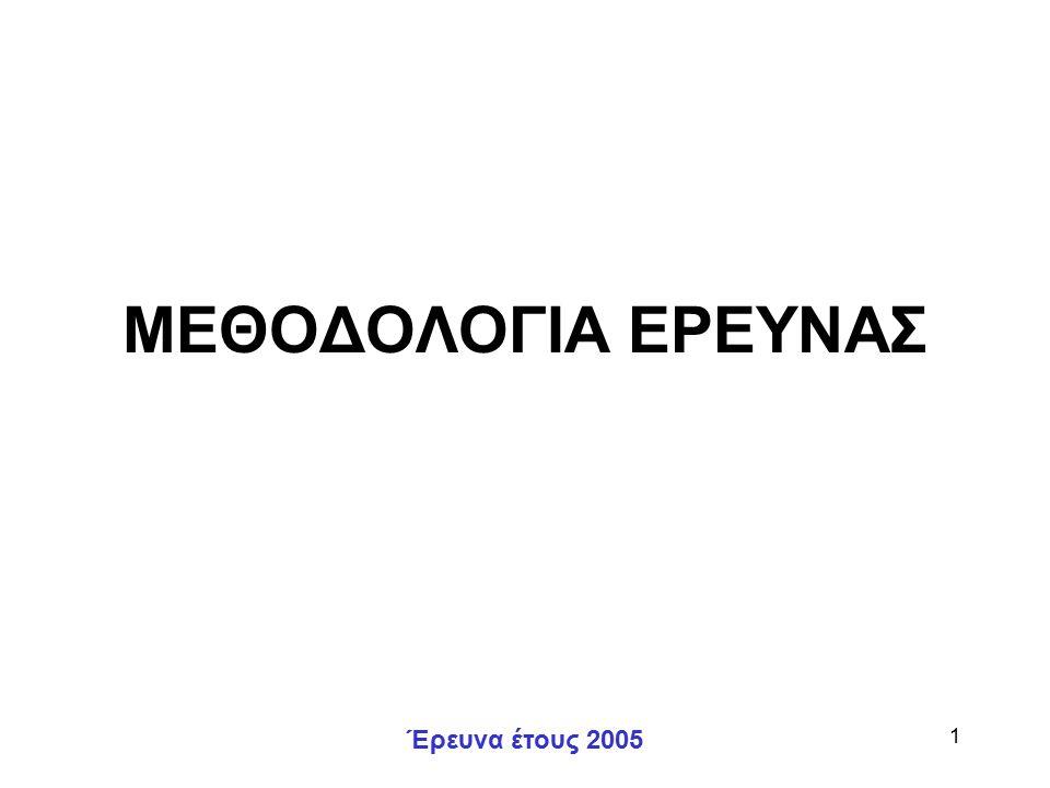 Έρευνα έτους 2005 1 ΜΕΘΟΔΟΛΟΓΙΑ ΕΡΕΥΝΑΣ
