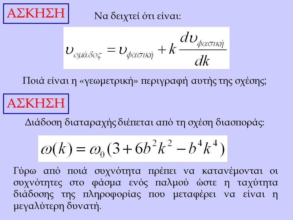 Να δειχτεί ότι είναι: Ποιά είναι η «γεωμετρική» περιγραφή αυτής της σχέσης ; Διάδοση διαταραχής διέπεται από τη σχέση διασποράς: Γύρω από ποιά συχνότητα πρέπει να κατανέμονται οι συχνότητες στο φάσμα ενός παλμού ώστε η ταχύτητα διάδοσης της πληροφορίας που μεταφέρει να είναι η μεγαλύτερη δυνατή.