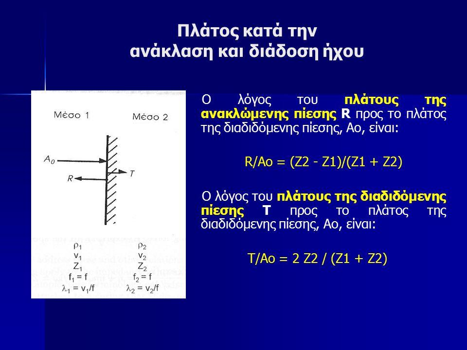 Πλάτος κατά την ανάκλαση και διάδοση ήχου Ο λόγος του πλάτους της ανακλώμενης πίεσης R προς το πλάτος της διαδιδόμενης πίεσης, Αο, είναι: R/Ao = (Z2 - Z1)/(Z1 + Z2) Ο λόγος του πλάτους της διαδιδόμενης πίεσης Τ προς το πλάτος της διαδιδόμενης πίεσης, Αο, είναι: Τ/Ao = 2 Z2 / (Z1 + Z2)