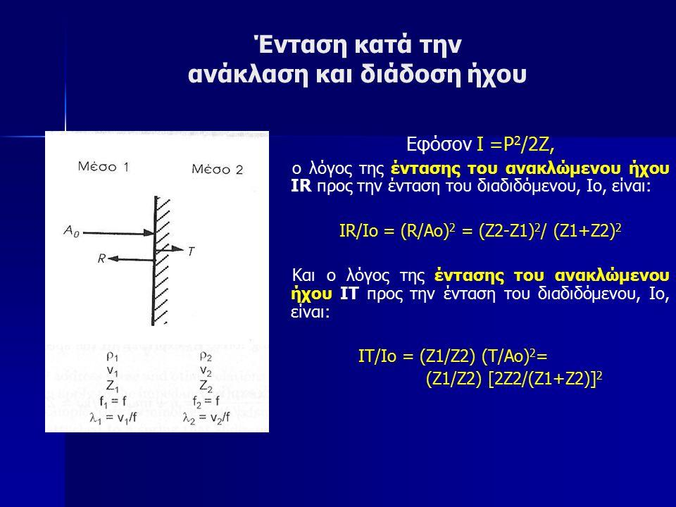Ένταση κατά την ανάκλαση και διάδοση ήχου Εφόσον Ι =P 2 /2Z, ο λόγος της έντασης του ανακλώμενου ήχου ΙR προς την ένταση του διαδιδόμενου, Ιο, είναι: ΙR/Ιo = (R/Ao) 2 = (Z2-Z1) 2 / (Z1+Z2) 2 Και ο λόγος της έντασης του ανακλώμενου ήχου ΙΤ προς την ένταση του διαδιδόμενου, Ιο, είναι: ΙΤ/Ιo = (Ζ1/Ζ2) (Τ/Ao) 2 = (Ζ1/Ζ2) [2Z2/(Z1+Z2)] 2