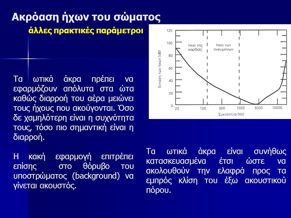 Ακρόαση ήχων του σώματος άλλες πρακτικές παράμετροι Τα ωτικά άκρα πρέπει να εφαρμόζουν απόλυτα στα ώτα καθώς διαρροή του αέρα μειώνει τους ήχους που α