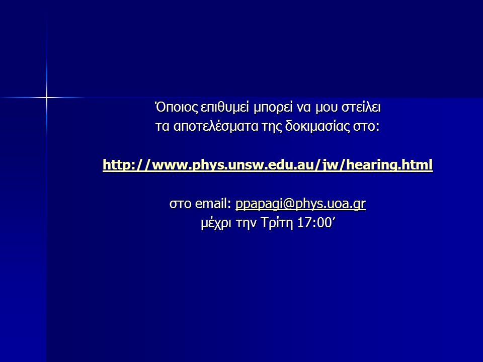 Όποιος επιθυμεί μπορεί να μου στείλει τα αποτελέσματα της δοκιμασίας στο: http://www.phys.unsw.edu.au/jw/hearing.html στο email: ppapagi@phys.uoa.gr ppapagi@phys.uoa.gr μέχρι την Τρίτη 17:00'