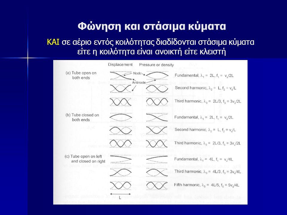 Φώνηση και στάσιμα κύματα ΚΑΙ σε αέριο εντός κοιλότητας διαδίδονται στάσιμα κύματα είτε η κοιλότητα είναι ανοικτή είτε κλειστή