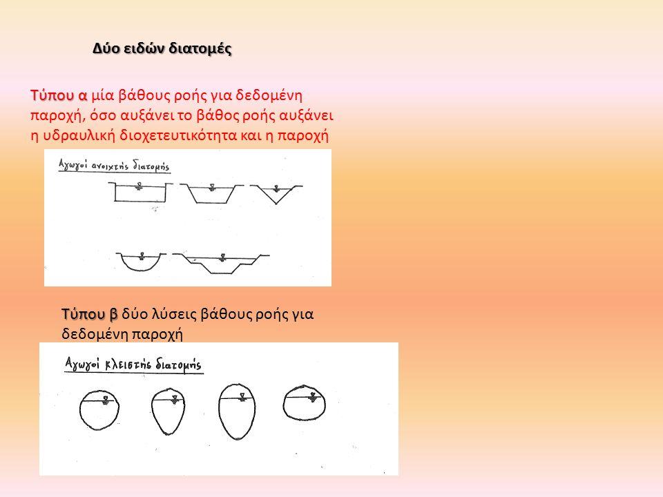 Δύο ειδών διατομές Τύπου β Τύπου β δύο λύσεις βάθους ροής για δεδομένη παροχή Τύπου α Τύπου α μία βάθους ροής για δεδομένη παροχή, όσο αυξάνει το βάθο