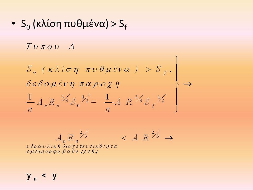 S 0 (κλίση πυθμένα) > S f