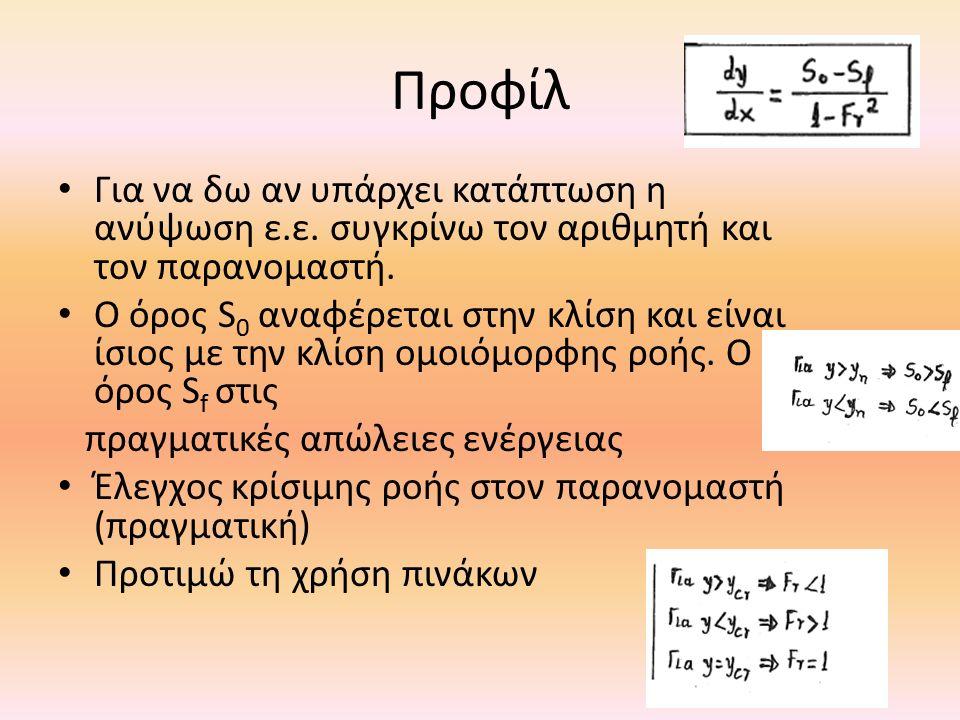 Προφίλ Για να δω αν υπάρχει κατάπτωση η ανύψωση ε.ε. συγκρίνω τον αριθμητή και τον παρανομαστή. Ο όρος S 0 αναφέρεται στην κλίση και είναι ίσιος με τη