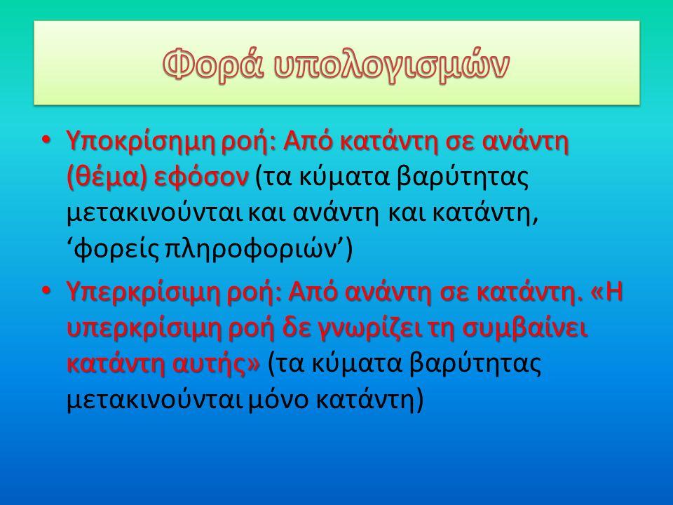 Υποκρίσημη ροή: Από κατάντη σε ανάντη (θέμα) εφόσον Υποκρίσημη ροή: Από κατάντη σε ανάντη (θέμα) εφόσον (τα κύματα βαρύτητας μετακινούνται και ανάντη