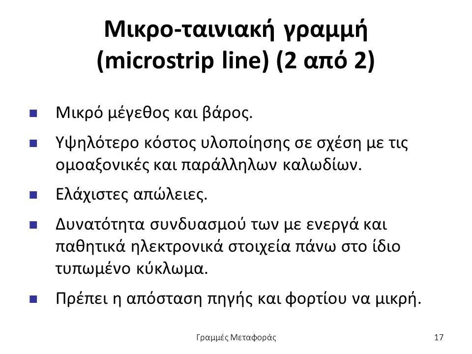 Μικρο-ταινιακή γραμμή (microstrip line) (2 από 2) Μικρό μέγεθος και βάρος.