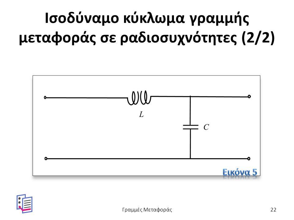 Ισοδύναμο κύκλωμα γραμμής μεταφοράς σε ραδιοσυχνότητες (2/2) Γραμμές Μεταφοράς22