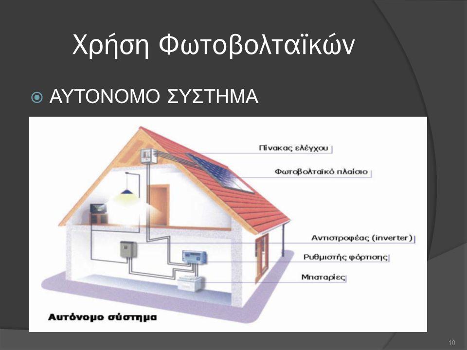 Χρήση Φωτοβολταϊκών  ΑΥΤΟΝΟΜΟ ΣΥΣΤΗΜΑ 10