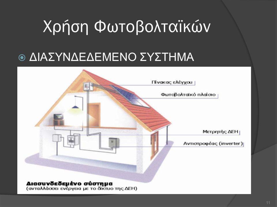 Χρήση Φωτοβολταϊκών  ΔΙΑΣΥΝΔΕΔΕΜΕΝΟ ΣΥΣΤΗΜΑ 11