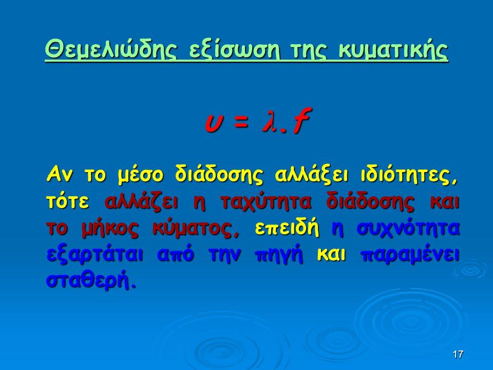 17 Θεμελιώδης εξίσωση της κυματικής Θεμελιώδης εξίσωση της κυματικής υ = λ.fυ = λ.fυ = λ.fυ = λ.f Αν το μέσο διάδοσης αλλάξει ιδιότητες, τότε αλλάζει η ταχύτητα διάδοσης και το μήκος κύματος, επειδή η συχνότητα εξαρτάται από την πηγή και παραμένει σταθερή.