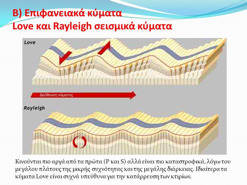 Β) Επιφανειακά κύματα Love και Rayleigh σεισμικά κύματα Kινούνται πιο αργά από τα πρώτα (P και S) αλλά είναι πιο καταστρoφικά, λόγω του μεγάλου πλάτους της μικρής συχνότητας και της μεγάλης διάρκειας.