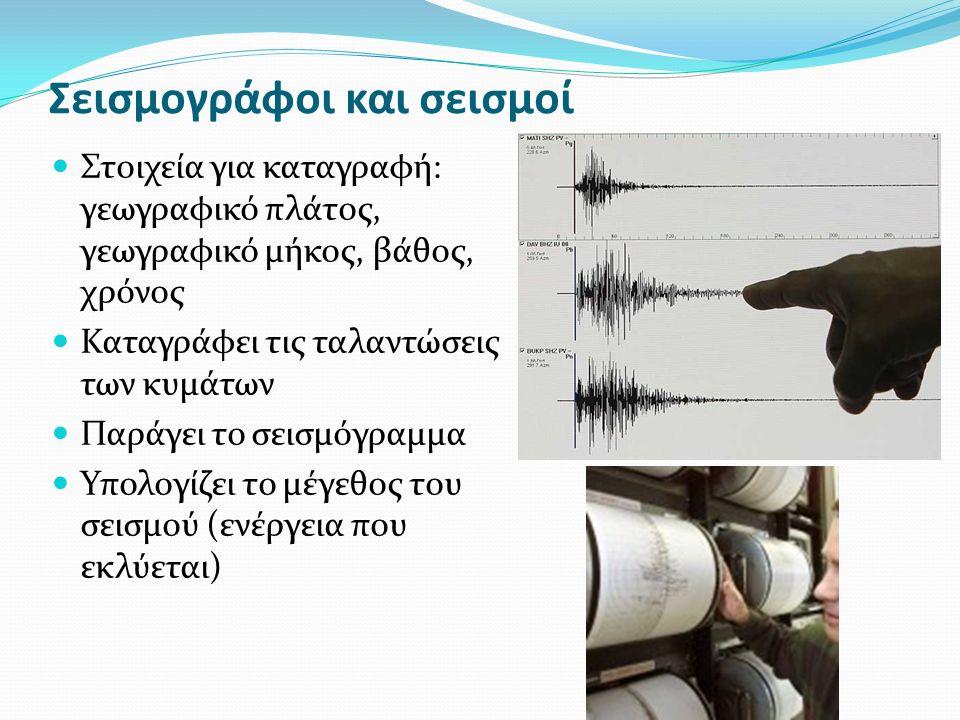 Σεισμογράφοι και σεισμοί Στοιχεία για καταγραφή: γεωγραφικό πλάτος, γεωγραφικό μήκος, βάθος, χρόνος Καταγράφει τις ταλαντώσεις των κυμάτων Παράγει το σεισμόγραμμα Υπολογίζει το μέγεθος του σεισμού (ενέργεια που εκλύεται)