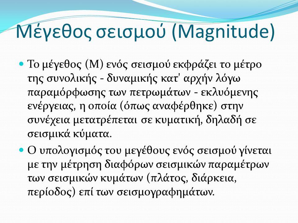 Μέγεθος σεισμού (Magnitude) Το μέγεθος (Μ) ενός σεισμού εκφράζει το μέτρο της συνολικής - δυναμικής κατ αρχήν λόγω παραμόρφωσης των πετρωμάτων - εκλυόμενης ενέργειας, η οποία (όπως αναφέρθηκε) στην συνέχεια μετατρέπεται σε κυματική, δηλαδή σε σεισμικά κύματα.