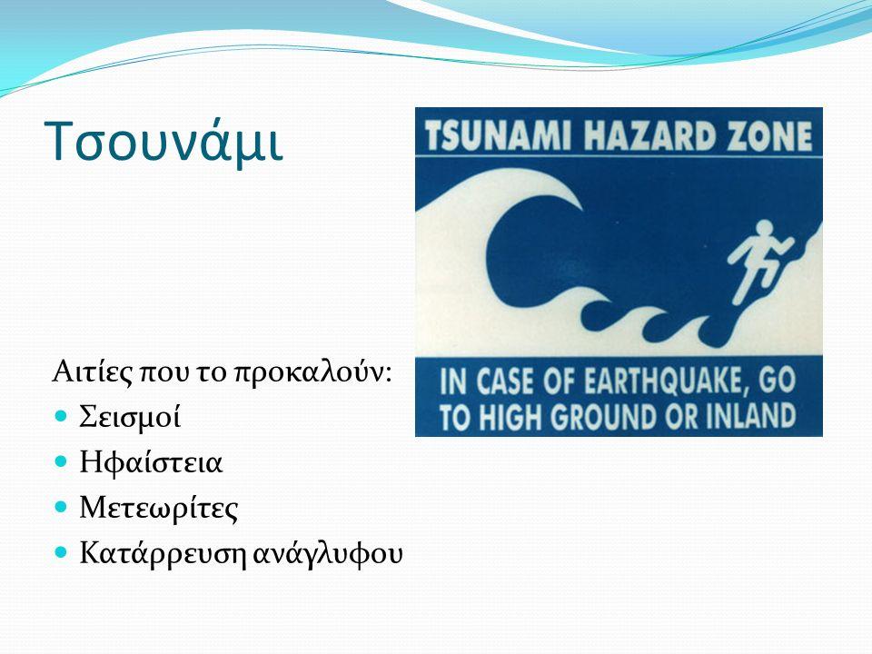 Τσουνάμι Αιτίες που το προκαλούν: Σεισμοί Ηφαίστεια Μετεωρίτες Κατάρρευση ανάγλυφου