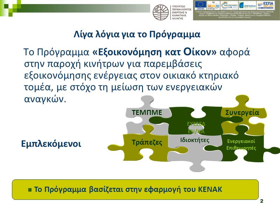 2 Το Πρόγραμμα «Εξοικονόμηση κατ Ο ίκον» αφορά στην παροχή κινήτρων για παρεμβάσεις εξοικονόμησης ενέργειας στον οικιακό κτηριακό τομέα, με στόχο τη μείωση των ενεργειακών αναγκών.