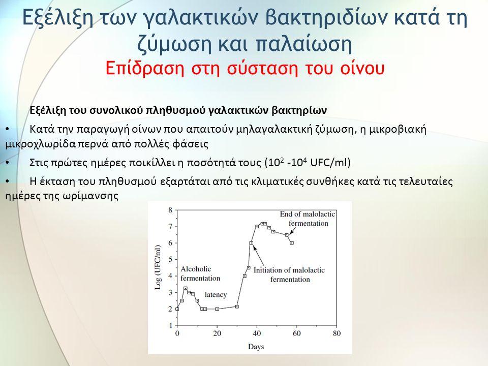Εξέλιξη του συνολικού πληθυσμού γαλακτικών βακτηρίων Κατά την παραγωγή οίνων που απαιτούν μηλαγαλακτική ζύμωση, η μικροβιακή μικροχλωρίδα περνά από πο