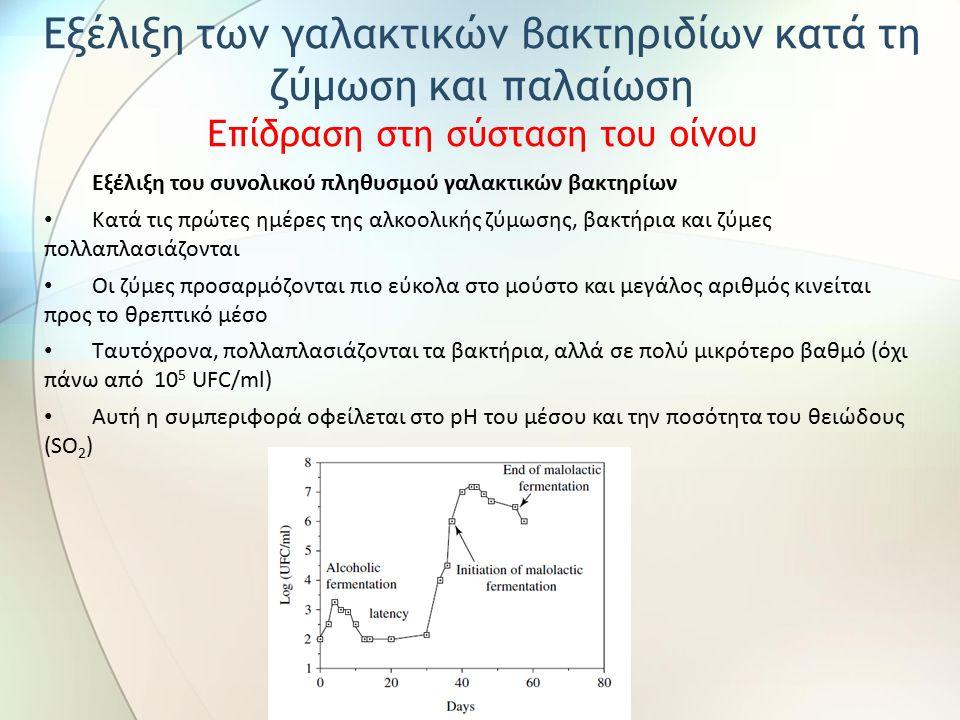 Εξέλιξη του συνολικού πληθυσμού γαλακτικών βακτηρίων Κατά τις πρώτες ημέρες της αλκοολικής ζύμωσης, βακτήρια και ζύμες πολλαπλασιάζονται Οι ζύμες προσαρμόζονται πιο εύκολα στο μούστο και μεγάλος αριθμός κινείται προς το θρεπτικό μέσο Ταυτόχρονα, πολλαπλασιάζονται τα βακτήρια, αλλά σε πολύ μικρότερο βαθμό (όχι πάνω από 10 5 UFC/ml) Αυτή η συμπεριφορά οφείλεται στο pH του μέσου και την ποσότητα του θειώδους (SO 2 ) Εξέλιξη των γαλακτικών βακτηριδίων κατά τη ζύμωση και παλαίωση Επίδραση στη σύσταση του οίνου