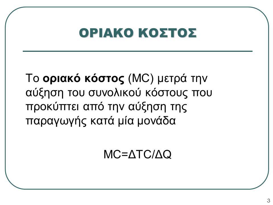 3 ΟΡΙΑΚΟ ΚΟΣΤΟΣ Το οριακό κόστος (MC) μετρά την αύξηση του συνολικού κόστους που προκύπτει από την αύξηση της παραγωγής κατά μία μονάδα MC=ΔTC/ΔQ