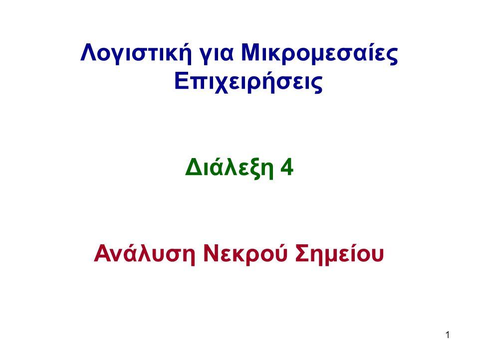 1 Λογιστική για Μικρομεσαίες Επιχειρήσεις Διάλεξη 4 Ανάλυση Νεκρού Σημείου