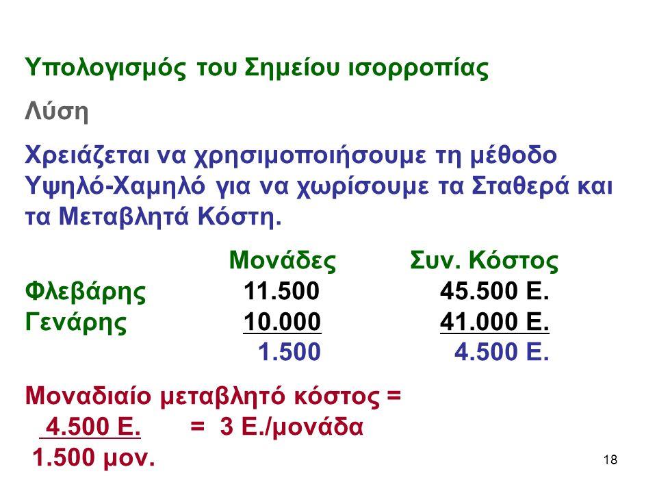 18 Υπολογισμός του Σημείου ισορροπίας Λύση Χρειάζεται να χρησιμοποιήσουμε τη μέθοδο Υψηλό-Χαμηλό για να χωρίσουμε τα Σταθερά και τα Μεταβλητά Κόστη.