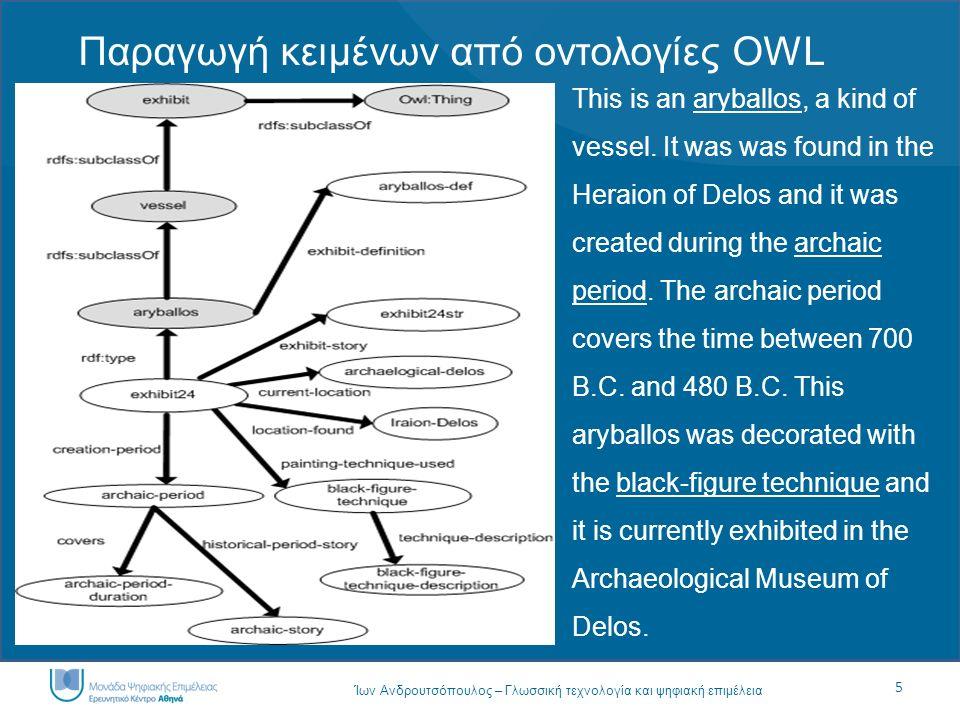 5 Ίων Ανδρουτσόπουλος – Γλωσσική τεχνολογία και ψηφιακή επιμέλεια Παραγωγή κειμένων από οντολογίες OWL This is an aryballos, a kind of vessel. It was