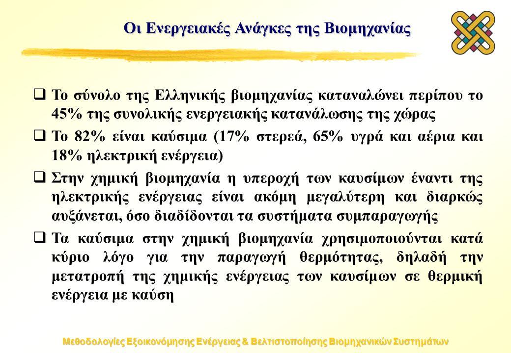 Μεθοδολογίες Εξοικονόμησης Ενέργειας & Βελτιστοποίησης Βιομηχανικών Συστημάτων Οι Ενεργειακές Ανάγκες της Βιομηχανίας  Το σύνολο της Ελληνικής βιομηχανίας καταναλώνει περίπου το 45% της συνολικής ενεργειακής κατανάλωσης της χώρας  Το 82% είναι καύσιμα (17% στερεά, 65% υγρά και αέρια και 18% ηλεκτρική ενέργεια)  Στην χημική βιομηχανία η υπεροχή των καυσίμων έναντι της ηλεκτρικής ενέργειας είναι ακόμη μεγαλύτερη και διαρκώς αυξάνεται, όσο διαδίδονται τα συστήματα συμπαραγωγής  Τα καύσιμα στην χημική βιομηχανία χρησιμοποιούνται κατά κύριο λόγο για την παραγωγή θερμότητας, δηλαδή την μετατροπή της χημικής ενέργειας των καυσίμων σε θερμική ενέργεια με καύση