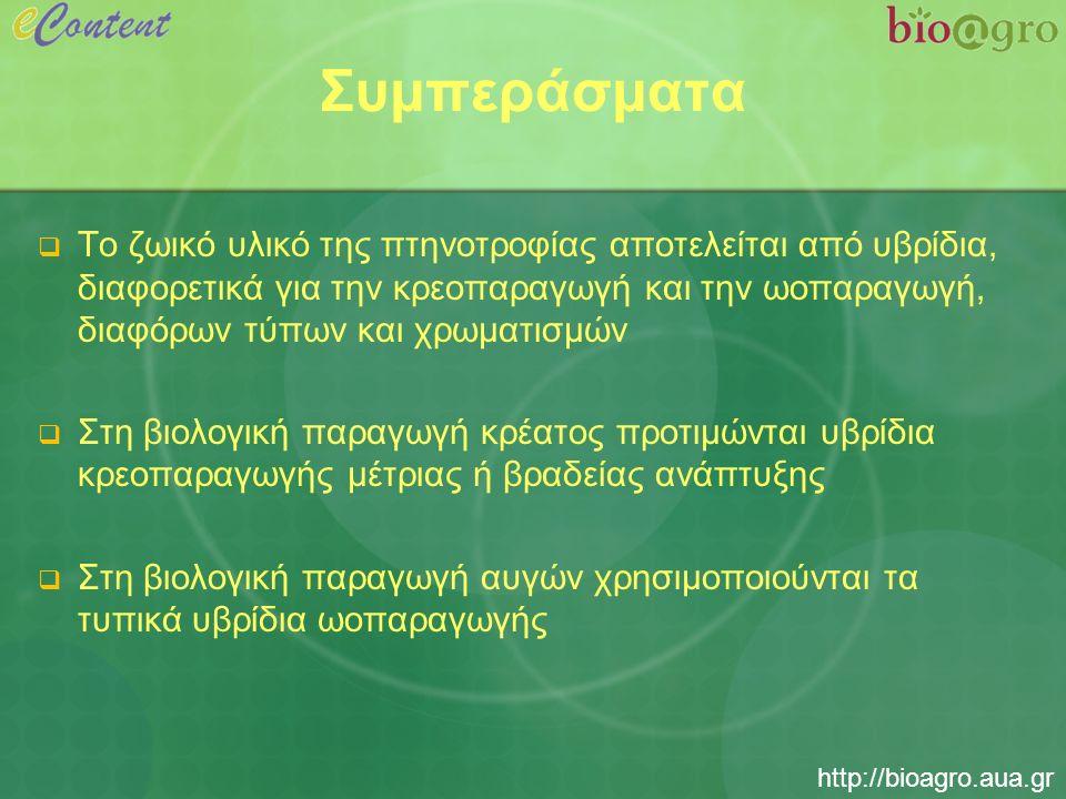 http://bioagro.aua.gr Συμπεράσματα  Το ζωικό υλικό της πτηνοτροφίας αποτελείται από υβρίδια, διαφορετικά για την κρεοπαραγωγή και την ωοπαραγωγή, διαφόρων τύπων και χρωματισμών  Στη βιολογική παραγωγή κρέατος προτιμώνται υβρίδια κρεοπαραγωγής μέτριας ή βραδείας ανάπτυξης  Στη βιολογική παραγωγή αυγών χρησιμοποιούνται τα τυπικά υβρίδια ωοπαραγωγής