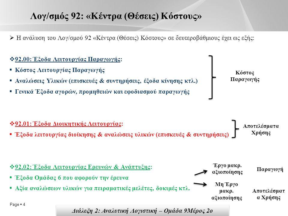 Page  4 Λογ/σμός 92: «Κέντρα (Θέσεις) Κόστους»  Η ανάλυση του Λογ/σμού 92 «Κέντρα (Θέσεις) Κόστους» σε δευτεροβάθμιους έχει ως εξής:  92.00: Έξοδα Λειτουργίας Παραγωγής:  Κόστος Λειτουργίας Παραγωγής  Αναλώσεις Υλικών (επισκευές & συντηρήσεις, έξοδα κίνησης κτλ.)  Γενικά Έξοδα αγορών, προμηθειών και εφοδιασμού παραγωγής  92.01: Έξοδα Διοικητικής Λειτουργίας:  Έξοδα λειτουργίας διοίκησης & αναλώσεις υλικών (επισκευές & συντηρήσεις)  92.02: Έξοδα Λειτουργίας Ερευνών & Ανάπτυξης:  Έξοδα Ομάδας 6 που αφορούν την έρευνα  Αξία αναλώσεων υλικών για πειραματικές μελέτες, δοκιμές κτλ.