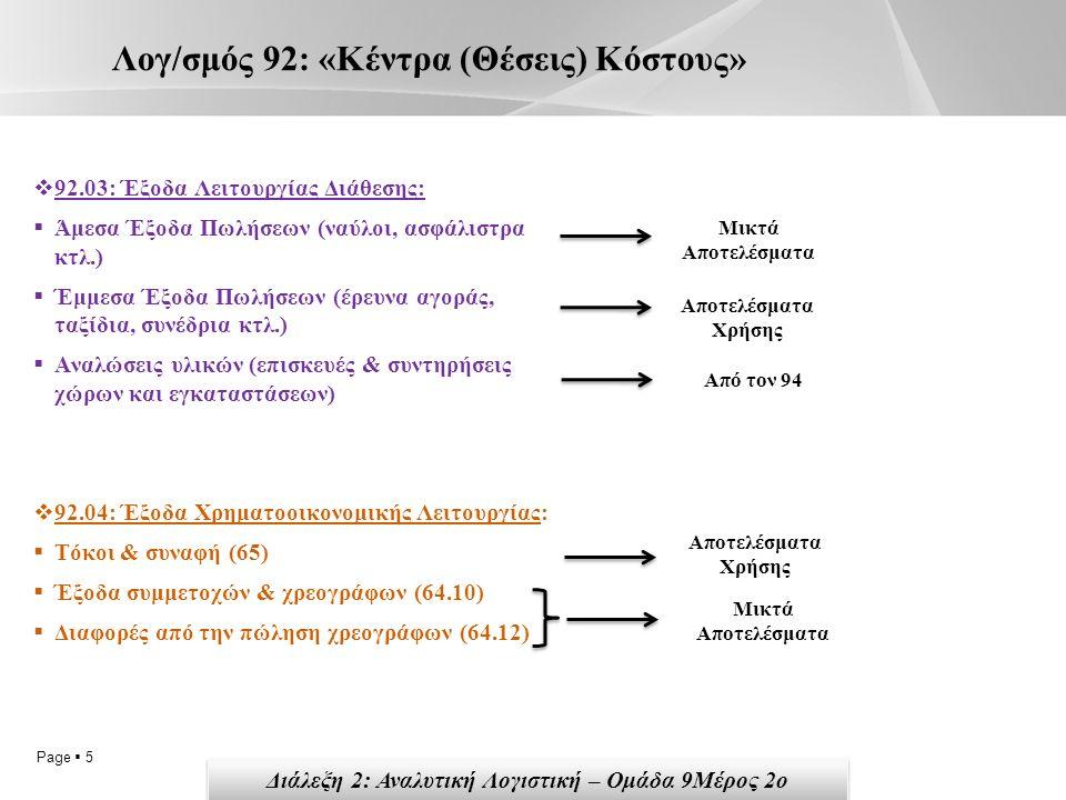 Page  5 Λογ/σμός 92: «Κέντρα (Θέσεις) Κόστους»  92.03: Έξοδα Λειτουργίας Διάθεσης:  Άμεσα Έξοδα Πωλήσεων (ναύλοι, ασφάλιστρα κτλ.)  Έμμεσα Έξοδα Πωλήσεων (έρευνα αγοράς, ταξίδια, συνέδρια κτλ.)  Αναλώσεις υλικών (επισκευές & συντηρήσεις χώρων και εγκαταστάσεων)  92.04: Έξοδα Χρηματοοικονομικής Λειτουργίας:  Τόκοι & συναφή (65)  Έξοδα συμμετοχών & χρεογράφων (64.10)  Διαφορές από την πώληση χρεογράφων (64.12) Αποτελέσματα Χρήσης Από τον 94 Μικτά Αποτελέσματα Αποτελέσματα Χρήσης Διάλεξη 2: Αναλυτική Λογιστική – Ομάδα 9Μέρος 2ο