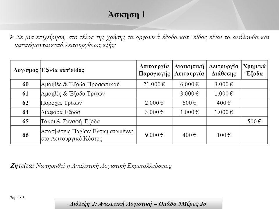 Page  8 Άσκηση 1  Σε μια επιχείρηση, στο τέλος της χρήσης τα οργανικά έξοδα κατ' είδος είναι τα ακόλουθα και κατανέμονται κατά λειτουργία ως εξής: Λογ/σμόςΈξοδα κατ είδος Λειτουργία Παραγωγής Διοικητική Λειτουργία Λειτουργία Διάθεσης Χρημ/κά Έξοδα 60Αμοιβές & Έξοδα Προσωπικού21.000 €6.000 €3.000 € 61Αμοιβές & Έξοδα Τρίτων 3.000 €1.000 € 62Παροχές Τρίτων2.000 €600 €400 € 64Διάφορα Έξοδα3.000 €1.000 € 65Τόκοι & Συναφή Έξοδα 500 € 66 Αποσβέσεις Παγίων Ενσωματωμένες στο Λειτουργικό Κόστος 9.000 €400 €100 € Ζητείτα: Να τηρηθεί η Αναλυτική Λογιστική Εκμεταλλεύσεως Διάλεξη 2: Αναλυτική Λογιστική – Ομάδα 9Μέρος 2ο
